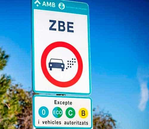 Señalización ZBE de Barcelona